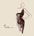 beautiful woman hand drawn vector image