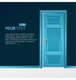 blue door in the dark wall for text vector image
