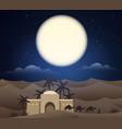 caravan camels in sahara vector image