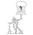 cartoon man or businessman struck lightning vector image