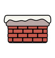 chimney with snow in border on white background vector image vector image
