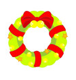 christmas wreath decorated with bow and bells vector image