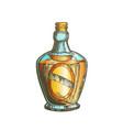 color blown scotch bottle with style cork cap vector image vector image
