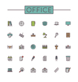 colored office line icons vector image