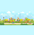 colorful panorama of park playground vector image vector image