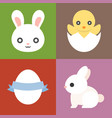 easter icons set cute animal vector image vector image