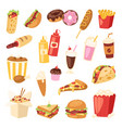 fast food nutrition american hamburger or vector image vector image