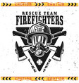 firefighters emblem with head in helmet vector image vector image