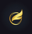 fly wing gold logo vector image vector image