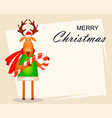 funny deer wearing santa claus hat and red scarf vector image vector image
