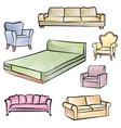 furniture set interior room furnishing bed sofa vector image vector image