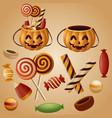 halloween pumpkins basket with candy vector image vector image
