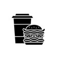 hamburger and coffee black icon sign on vector image vector image