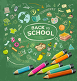 hand drawn education icons and colorful pencils vector image vector image