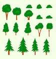 isolated cartoon flat doodle tree bush hand draw vector image vector image