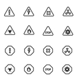 line danger icon set vector image