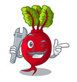 mechanic whole beetroots with green leaves cartoon vector image