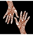 Mehendi Hands On Black Background vector image vector image