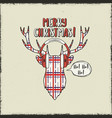 merry christmas card vintage hand drawn deer head vector image vector image