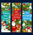 merry christmas new year greeting banners vector image vector image