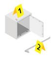metal steel money bank safe and crowbar vector image vector image