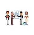 multiethnic business speakers doing presentation vector image vector image