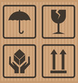 packaging symbols fragile symbol on cardboard box vector image vector image