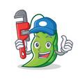 plumber peas mascot cartoon style vector image vector image