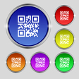 Qr code icon sign Round symbol on bright colourful vector image vector image