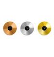 realistic vinyl record metal golden and platinum vector image vector image