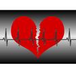 red broken heart with cardiogram vector image vector image