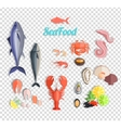 Seafood Set Design Flat Fish and Crab vector image