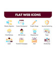 set flat design icons and social media vector image vector image