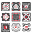 set nine stylish line insignias decorative vector image vector image