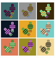 set of icons in flat design athletic weights on vector image vector image