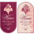 set retro wine labels with bunches grapes vector image vector image