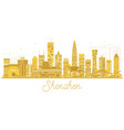 shenzhen china city skyline golden silhouette vector image vector image