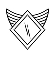 shield security winged outline empty vector image vector image