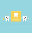 teeth characters holding card vector image vector image