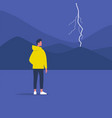 thunderstorm weather and nature young male vector image