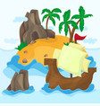 tropical island with palms and ship in ocean vector image vector image