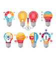 various infographic shapes of lighting bulb vector image vector image