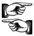 victorian point finger hand vintage icons vector image