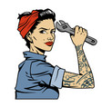 vintage colorful pin up mechanic girl vector image vector image