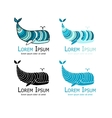 Whales logo set sketch for your design vector image vector image