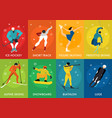 winter sports cards vector image vector image