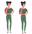 young pretty girl front 3 4 view cartoon style vector image vector image