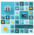 Finance icons with long shadow vector image