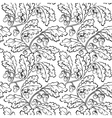 oak leaf acorn black white seamless background vector image