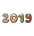 2019 gingerbread with colorful icing and vector image